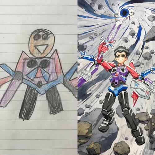 El hijo crea los personajes y su padre los ilustra