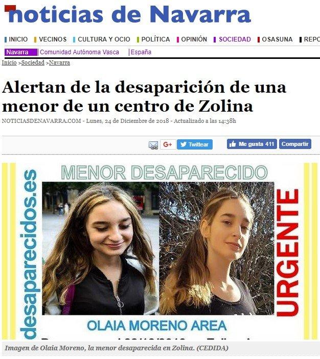 Menor de 15 años desaparecida en Navarra