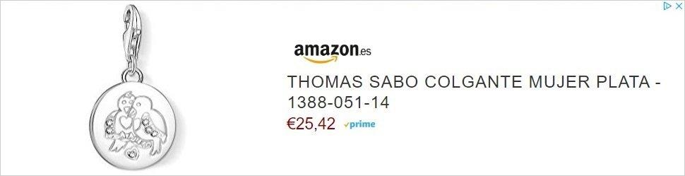 Me gustaría saber qué cálculos ha hecho el algoritmo de Amazon para deducir que me interesa un colgante de mujer llamado THOMAS SABO con dos ridículos pájaros tallados