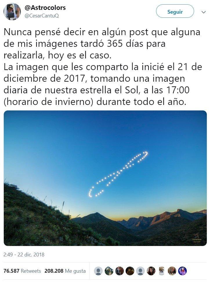Posición del sol a las 17:00 durante un año
