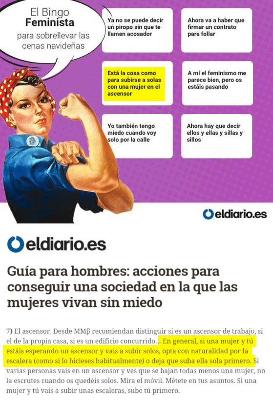 Hace un par de días, ElDiario.es aseguraba que la cosa no está como para subirse a un ascensor a solas con una mujer.