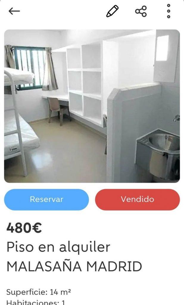 Pone un falso anuncio para alquilar un apartamento de 14 metros cuadrados, situado en el centro de Madrid, por 480 euros con la foto DE UNA CELDA DE UNA CÁRCEL Española. A la hora ya había interesados