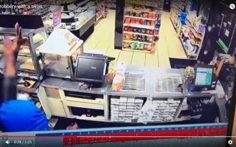 Un auténtico héroe frustra el robo en una gasolinera