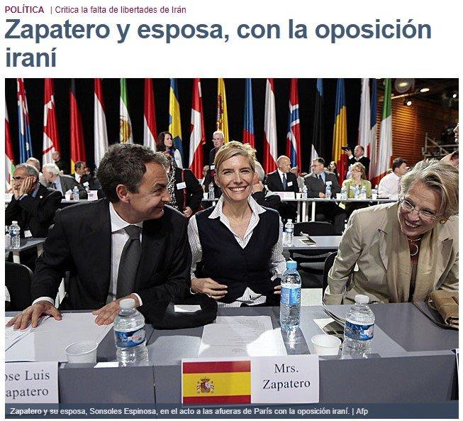 Cuando la oposición iraní molaba. ¿1970? que va que va, hace solo 6 años, cuando Zapatero les apoyó abiertamente