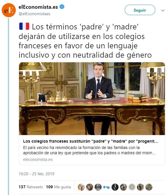No, no es El Mundo Today: los términos 'Padre' y 'Madre' serán sustituidos en Francia por 'Progenitor 1' y 'Progenitor 2' para no discriminar a las familias no normativas