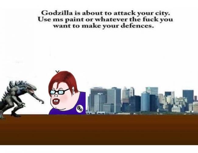Godzilla va a atacar tu ciudad. Usa Paint para crear tus defensas