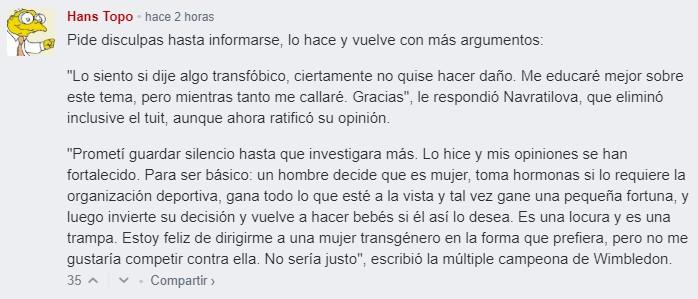 "Martina Navratilova, contra los atletas trans: ""Es insano, tramposo e injusto"""