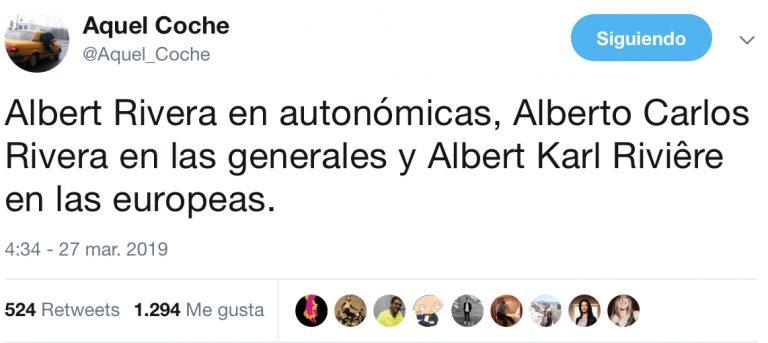 Al aparecer las listas electorales para las elecciones del próximo 28 de abril, el número uno de Ciudadanos era un tal Alberto Carlos y claro… en Twitter se han vuelto locos