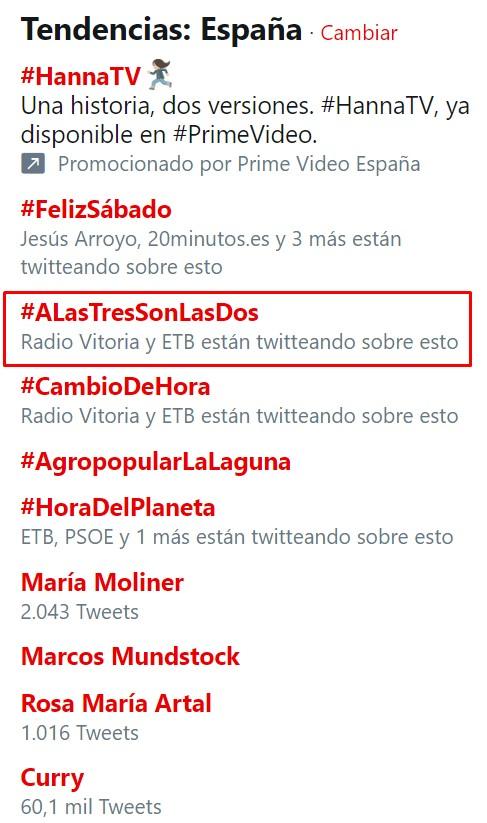 ¿Sabes cuando crees que todo el mundo está equivocado menos tú? pues hoy ha pasado con el cambio de hora y el hashtag #ALasTresSonLasDos