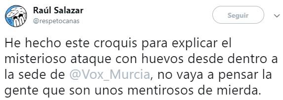 """El """"misterioso"""" ataque con huevos desde dentro a la sede de Vox Murcia"""