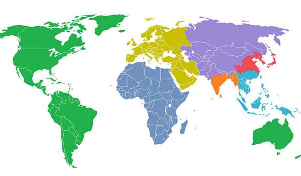 El mundo dividido en siete partes con el mismo número de habitantes