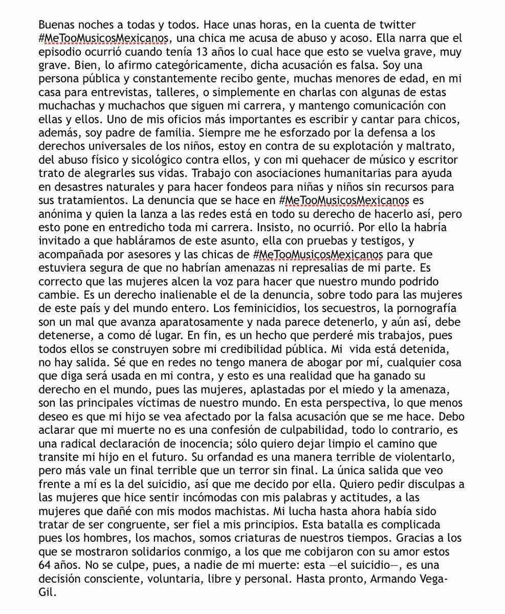 Armando Vega Gil, cantante mejicano acusado de abusar y acosar de una niña de 13 años, comparte una carta de suicidio en Twitter