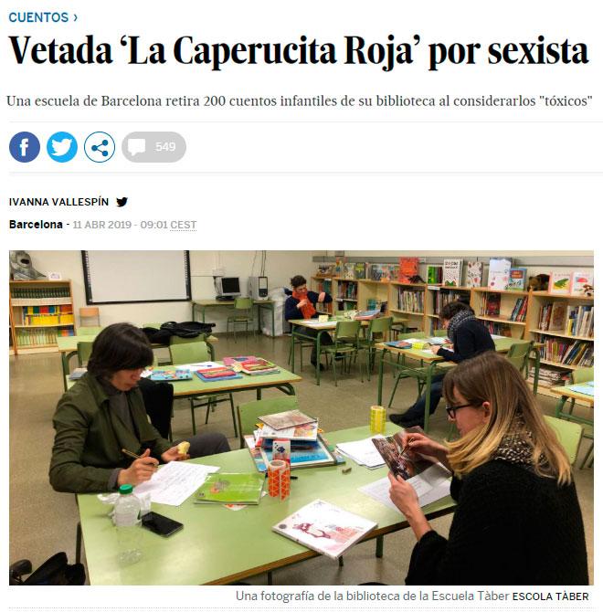 """Está pasando... Una escuela de Barcelona retira 200 cuentos infantiles por considerarlos """"tóxicos"""" y """"sexistas"""""""