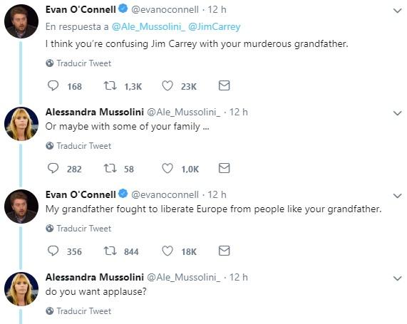 Jim Carrey ha dibujado una caricatura sobre Mussolini junto a su mujer muertos a manos del pueblo, y parece que a su nieta no le ha gustado mucho...