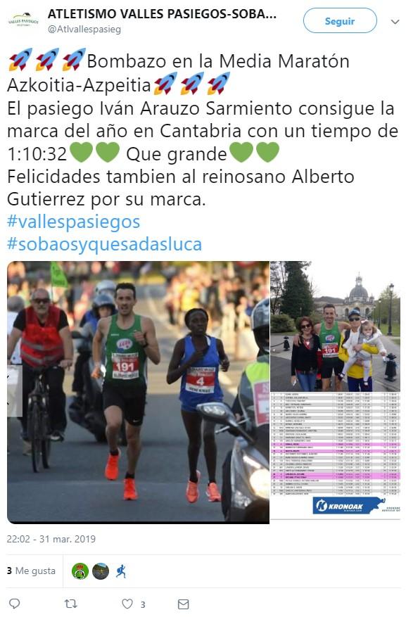 Atletismo opresor en la media maratón Azkoitia-Azpeitia