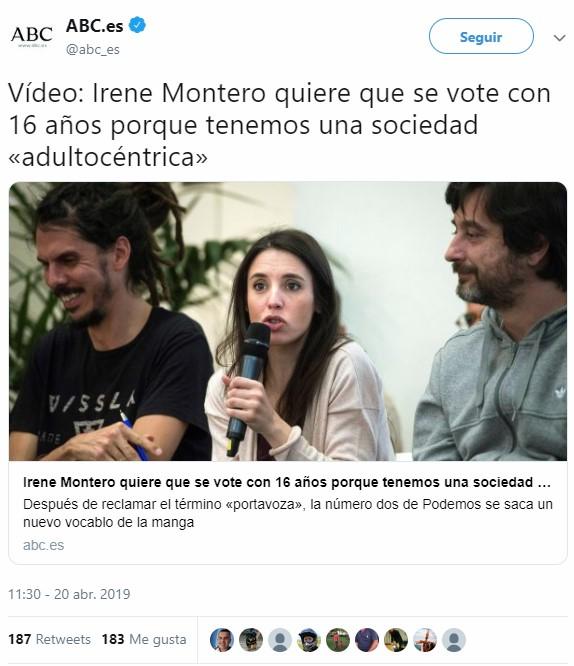 Irene Montero quiere que dejen votar antes de que la peña madure y deje de ser comunista :D