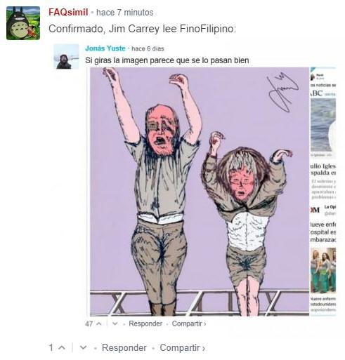 """Jim Carrey responde sobre su discusión con la nieta del fascista Mussolini. """"Si le molesta, que le de la vuelta al dibujo y verá a su abuelo dando saltos de alegría""""."""