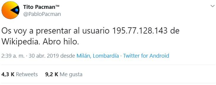 El misterioso usuario 195.77.128.143 de Wikipedia