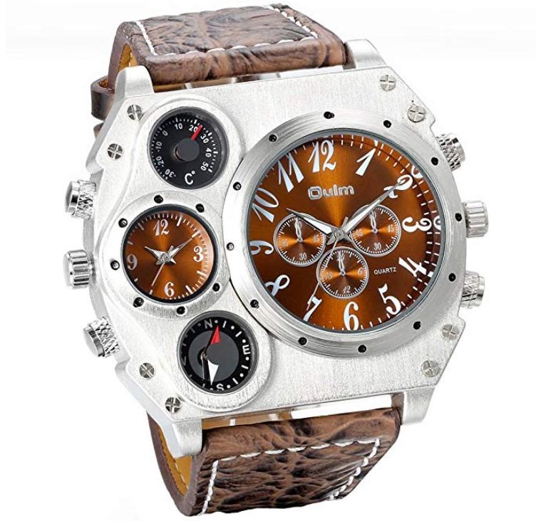 d1f8899396b2 Jewelrywe Reloj Ronda Geniales Pantalla Brújula Termómetro Dual Time Dial  Marrón.  LINK