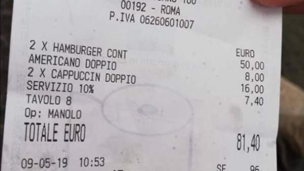 Nuevo timo a los turistas: un restaurante de Italia cobra 81 euros por dos hamburguesas y tres cafés