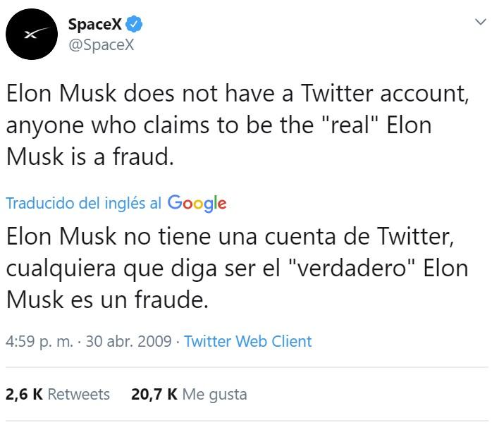 La cuenta de Elon Musk es un fake
