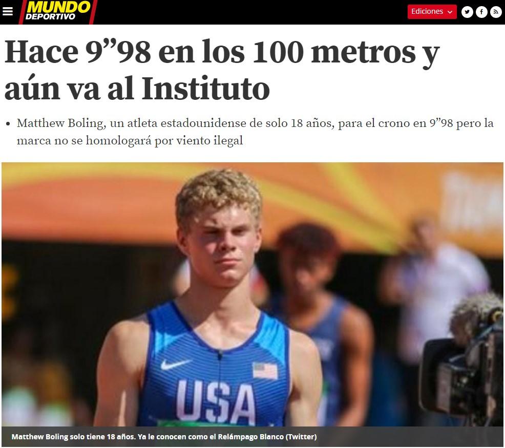 Un chaval de 18 años se ha quedado a 0,4 segundos del record de Bolt en los 100 metros