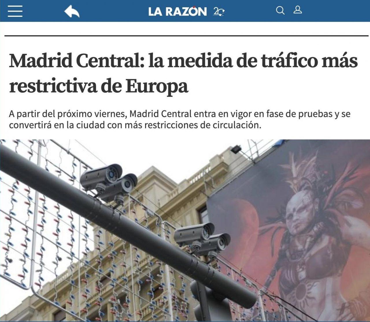 """La Razón cuando la izquierda pone en marcha Madrid Central vs La Razón cuando gana la derecha """"se da cuenta"""" de que quitar Madrid Central supone multas millonarias de la UE"""