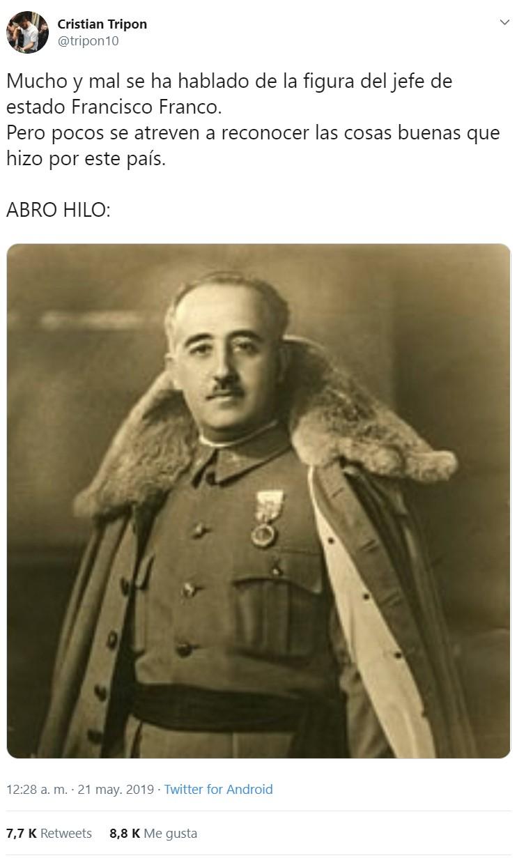 Por fin alguien se atreve a hablar de las cosas que hizo bien Franco