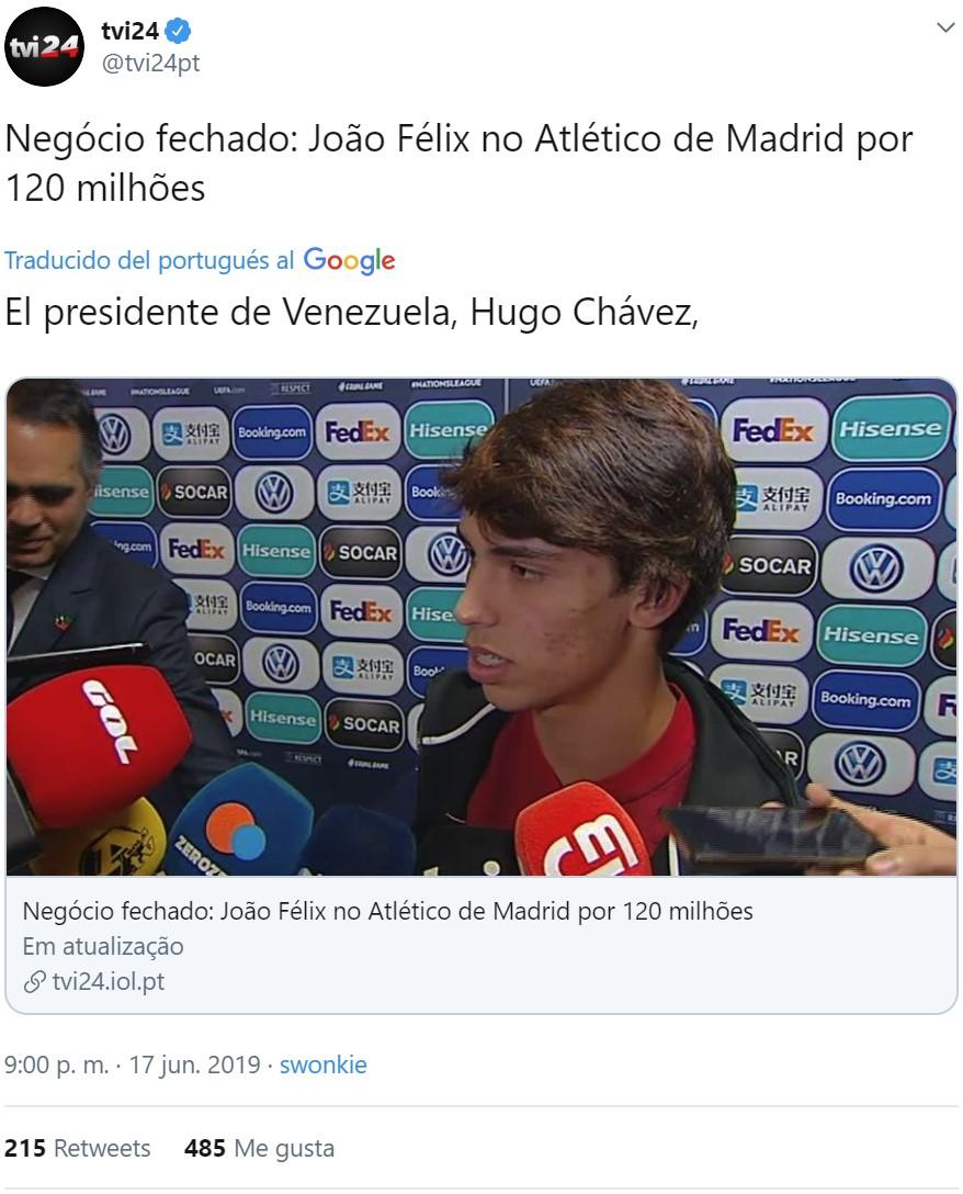 """Por alguna extraña razón, si le pides a Google que traduzca este tuit, su respuesta es """"El presidente de Venezuela, Hugo Chávez"""""""