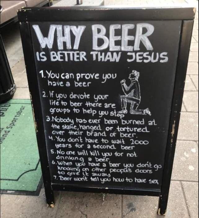 ¿Por qué la cerveza es mejor que Jesús?