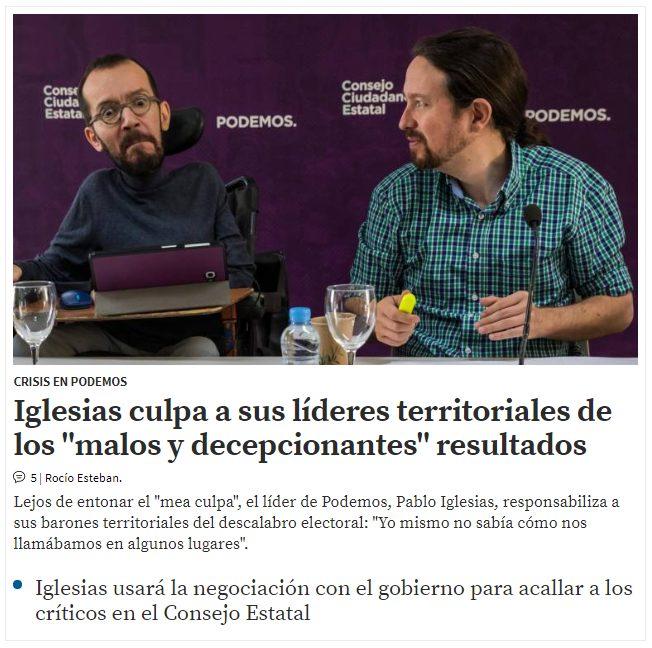 Pablo Iglesias ha encontrado qué es lo que falla en Podemos