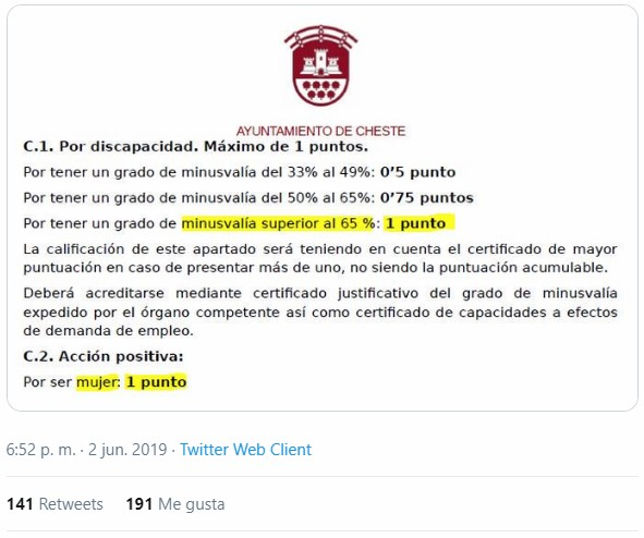 """""""Acción positiva"""": Bolsa de psicología del ayuntamiento de Cheste, las mujeres suman 1 punto, lo mismo que las personas con una minusvalía superior al 65%."""