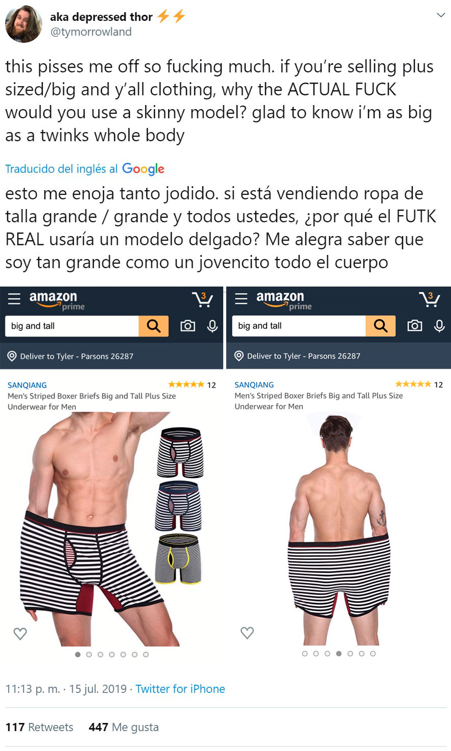 Estúpido y gordofóbico Amazon...
