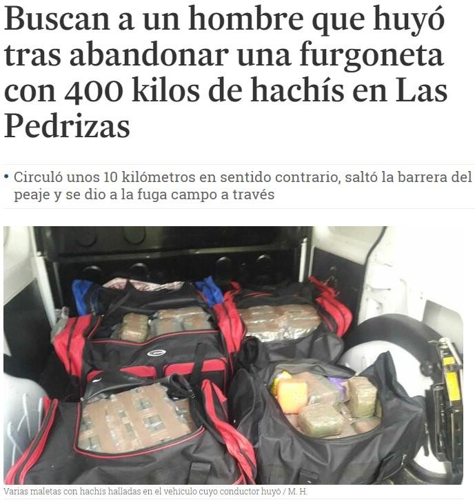 Una furgoneta circuló unos 10 kilómetros en sentido contrario por una autovía de Málaga, luego saltó la barrera del peaje y se dio a la fuga campo a través