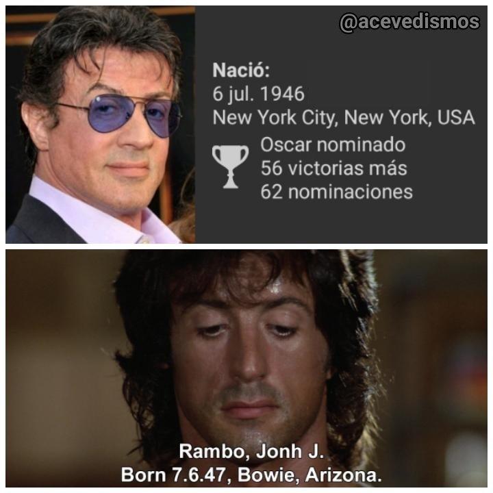 Hoy Sylvester Stallone cumple 73 años y, casualmente, hoy también cumple años John Rambo, pero uno menos: 72. Happy birthday!!!