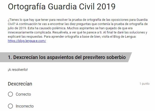 Ya puedes hacer el test de ortografía que tienes que superar en 2019 para ser Guardia Civil