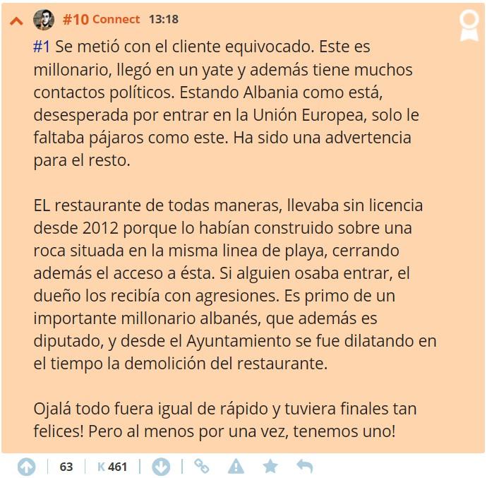Turbo-karma: encarcelan al albanés loco y derriban su restaurante