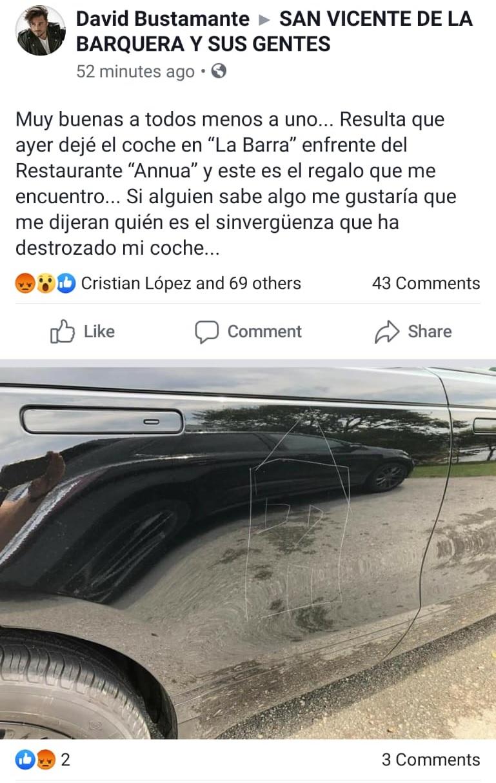 A Bustamante le han tuneao el coche