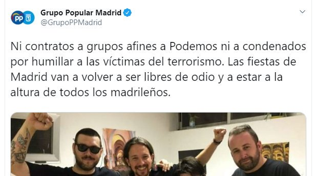 ¿Pero estos no son los mismos que defendían a Valtonyc y se quejan de que el PP de Madrid no deje cantar a Def con Dos?