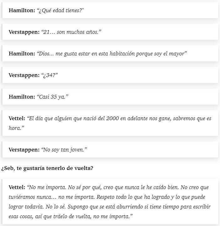 Rueda de prensa random entre Hamilton, Verstappen y Vettel hablando sobre Fernando Alonso