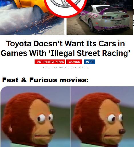 """""""Toyota no quiere sus coches en juegos de carreras ilegales"""""""