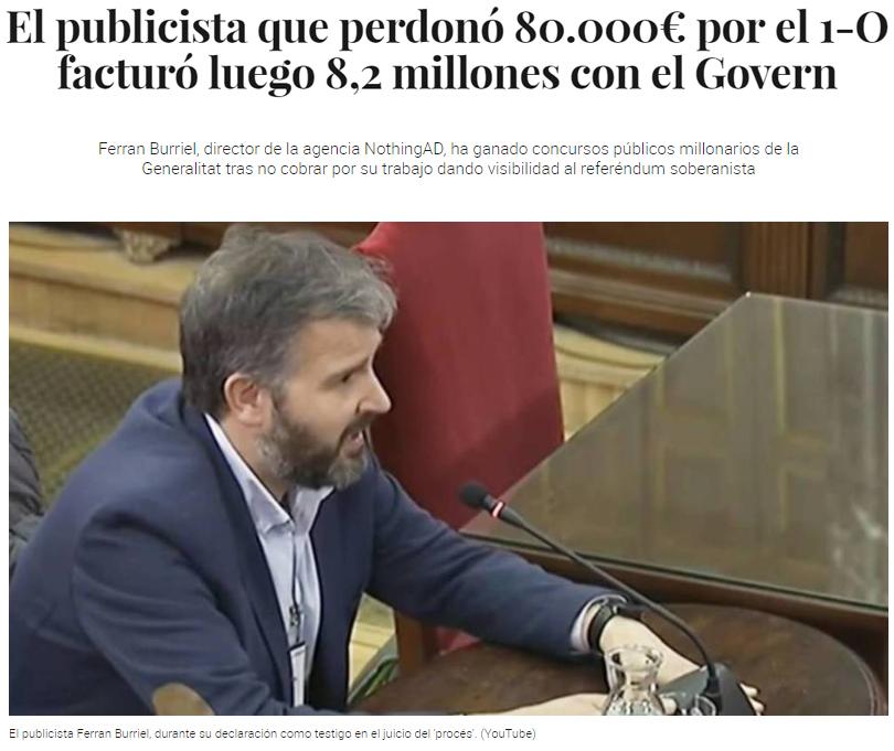 El publicista que perdonó 80․000€ por el 1-O facturó luego 8,2 millones con el Govern