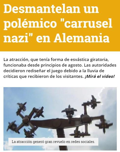 """20 días ha durado en funcionamiento el """"carrusel nazi"""", una atracción con forma de 4 esvásticas gigantes"""