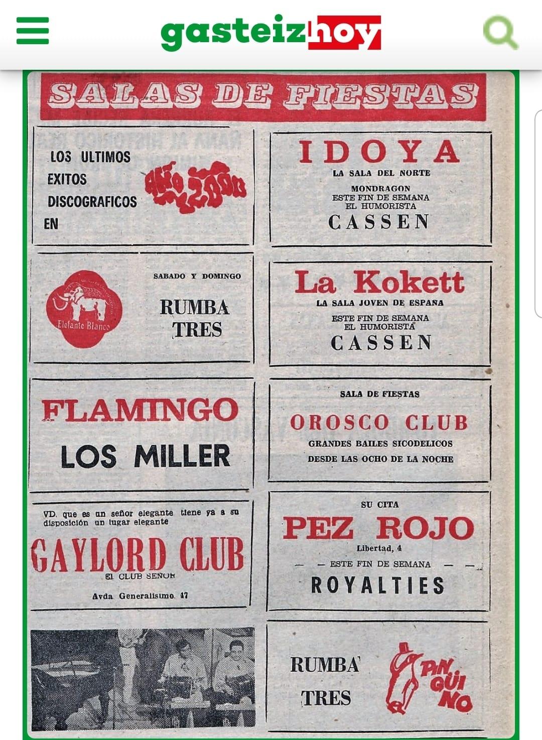 """¿Sabías que en Vitoria existió un """"Club de señores"""" llamado GAYLORD CLUB?"""