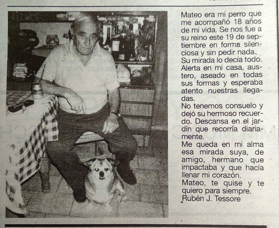 Este tipo que publicó en el diario por la muerte de su perro es mi nuevo héroe