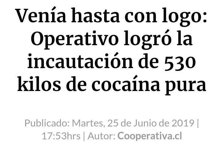 Incautan 127 kilos de coca con el logo del canal Historia