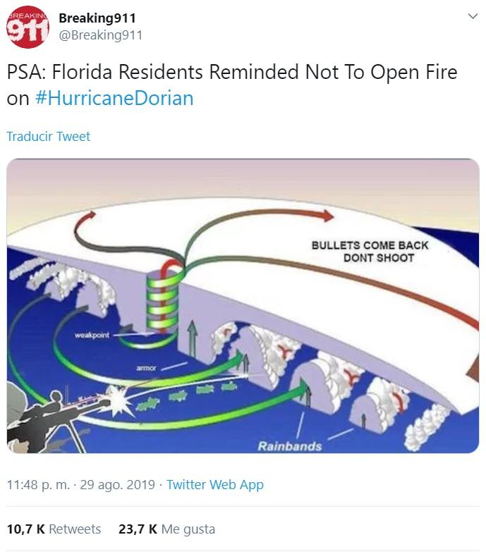 Sí, en Florida están volviendo a recordar a la gente que dejen de disparar a los huracanes