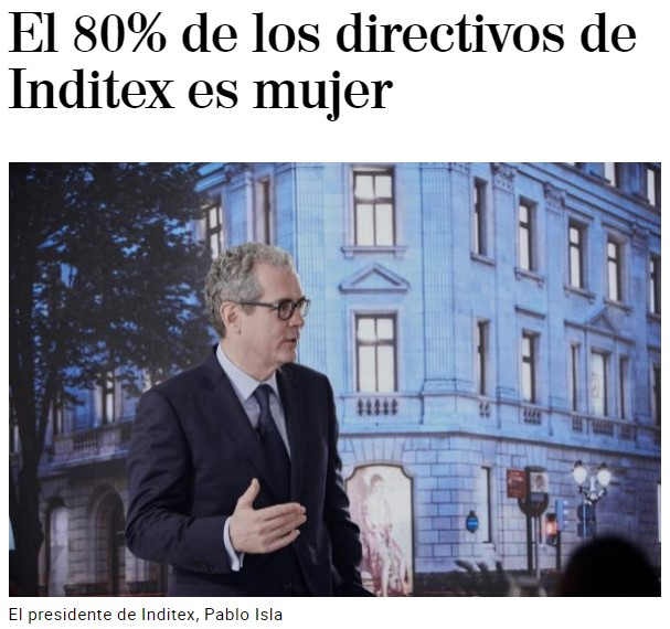 """""""Igualdad: El 80% de los directivos de Inditex es mujer"""""""