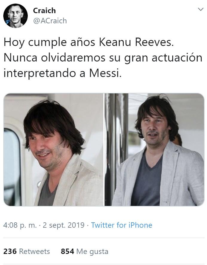 Keanu Reeves cumple hoy 55 años