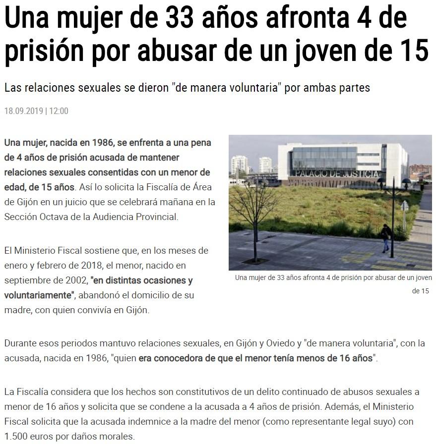 """Piden 4 años si la """"abusadora"""" es mujer, y 11 si el """"abusador"""" es hombre"""